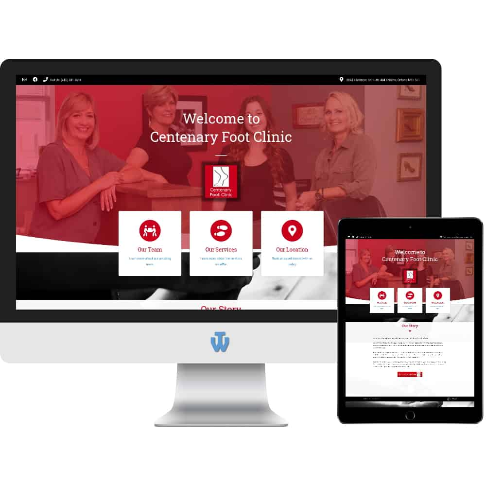 Centenary Foot Clinic website home page shown on desktop computer and tablet