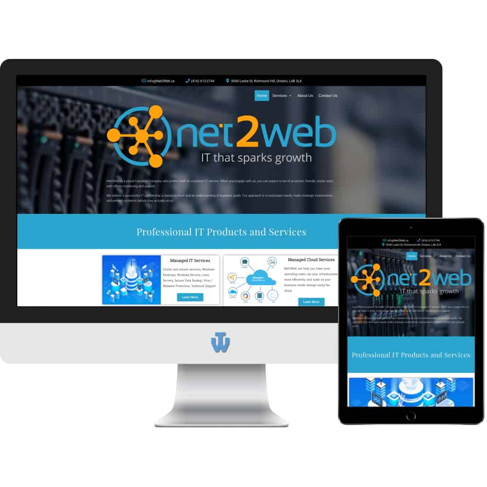 Net2Web website home page shown on desktop computer and tablet