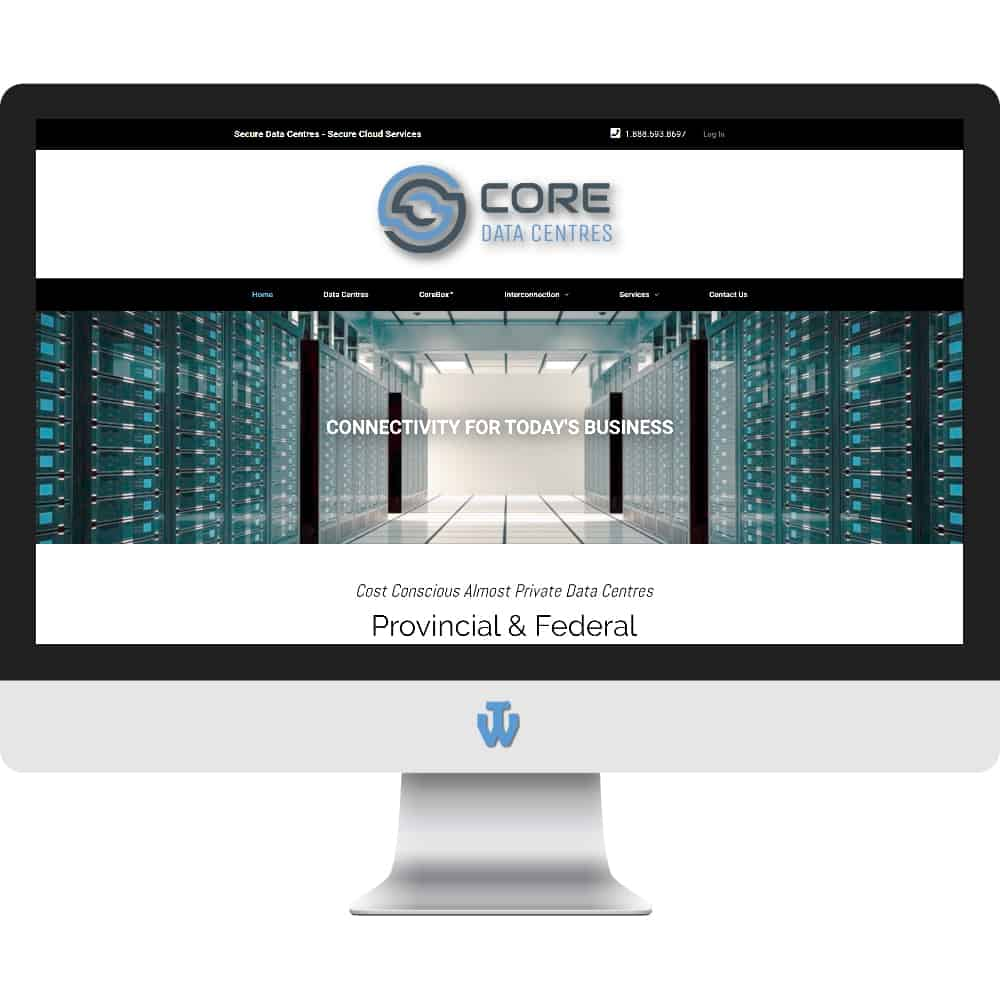 CORE Data Centres website home page shown on desktop computer