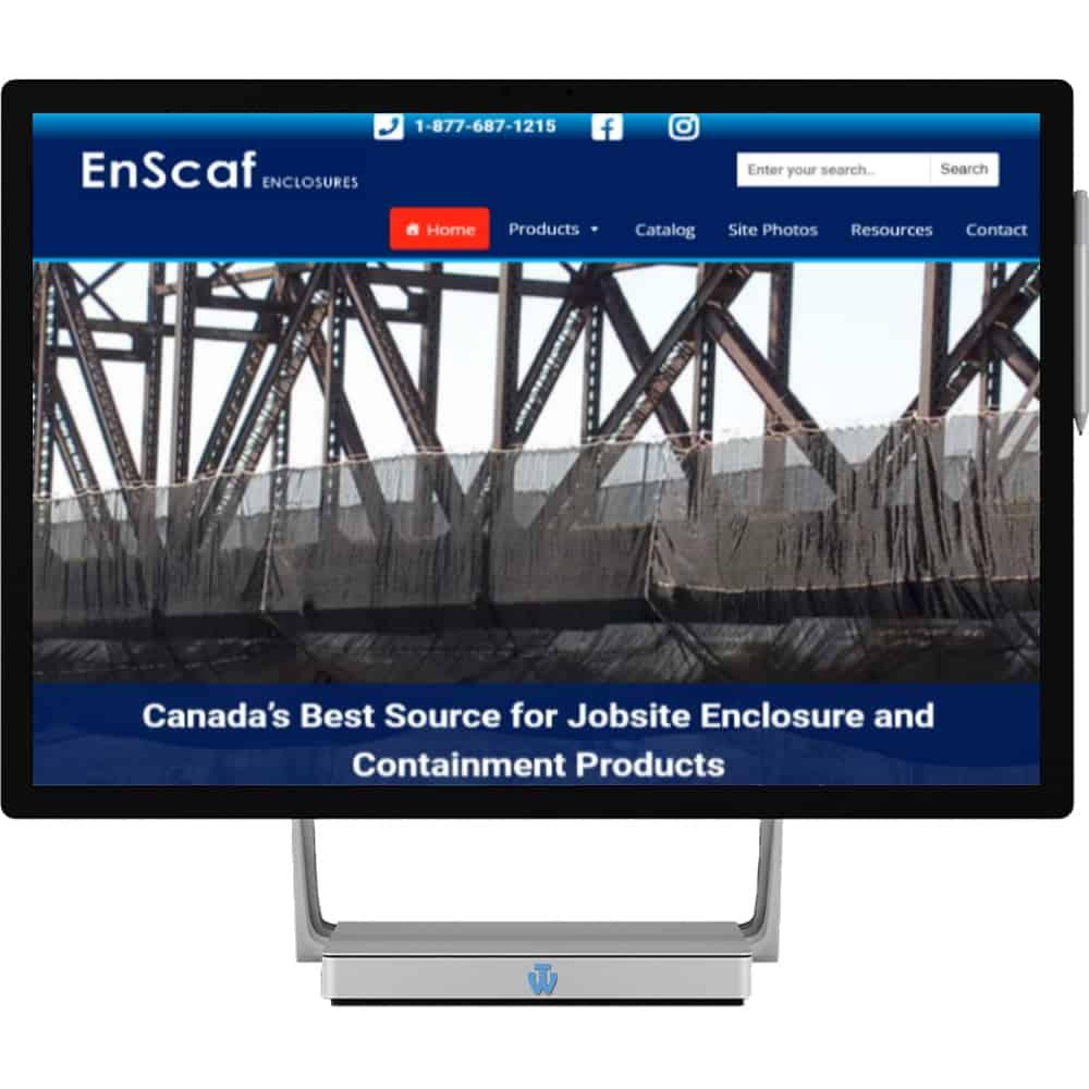 Enscaf Enclosure website home page shown on desktop computer