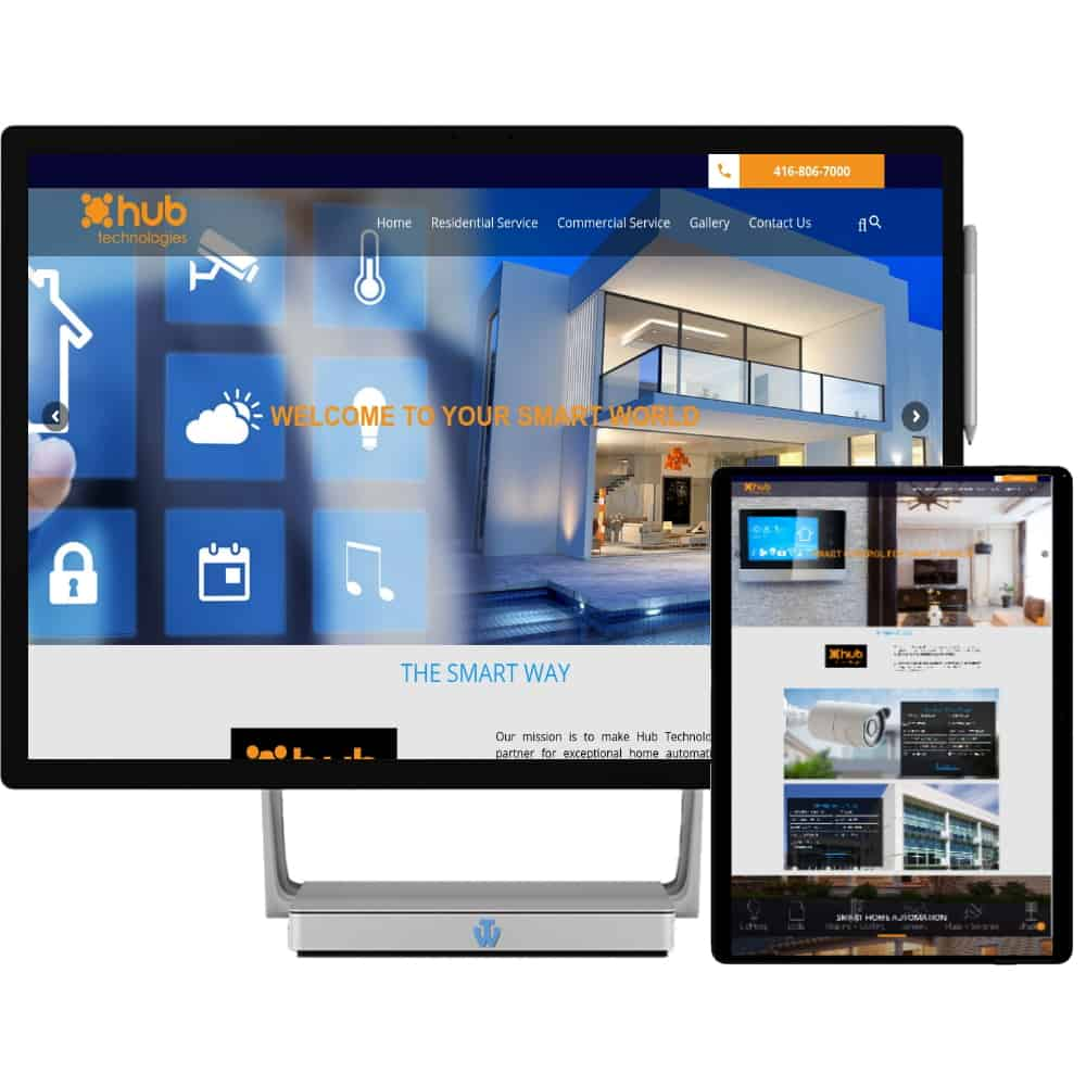 Hub Technologies website home page shown on desktop and tablet